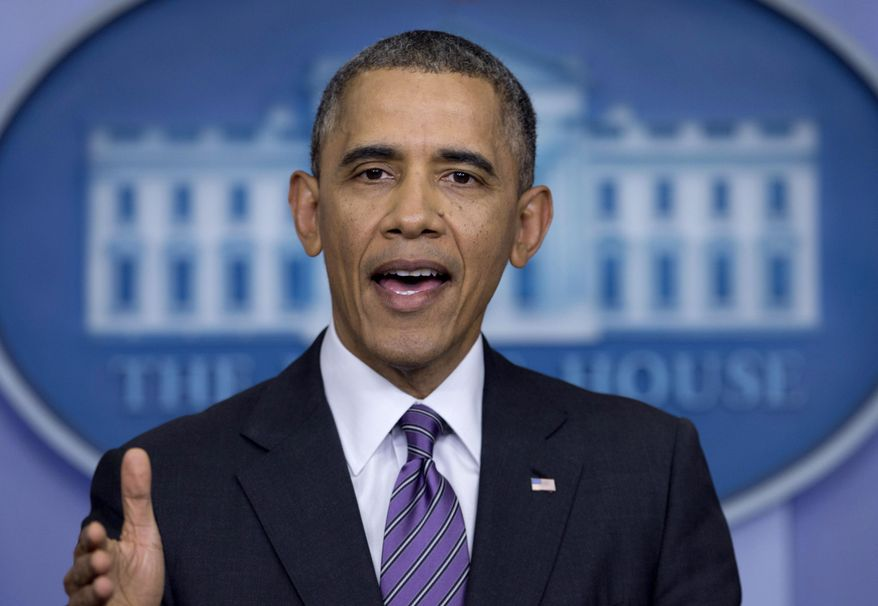 ** FILE ** This April 17, 2014, file photo shows President Barack Obama speaking in the briefing room of the White House in Washington. (AP Photo/Carolyn Kaster, File)
