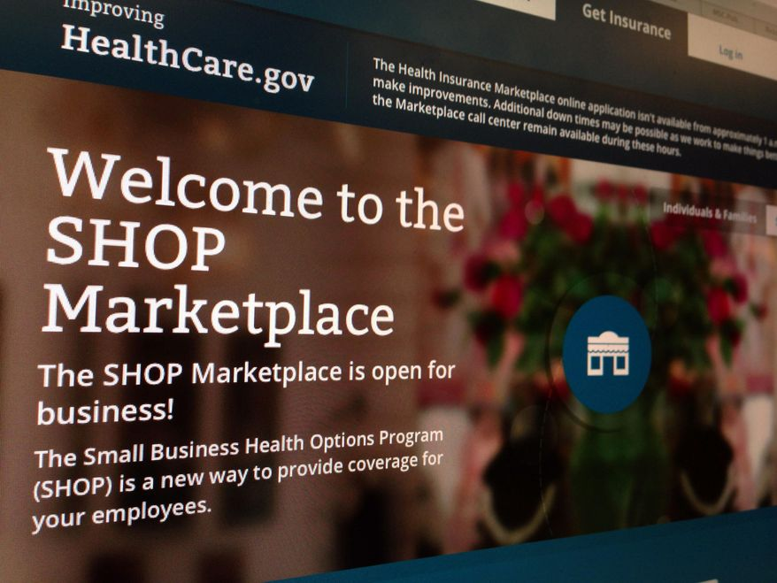 This photo taken Nov. 27, 2013, in Washington shows part of the HealthCare.gov website page featuring information about the SHOP Marketplace. (Associated Press) **FILE**