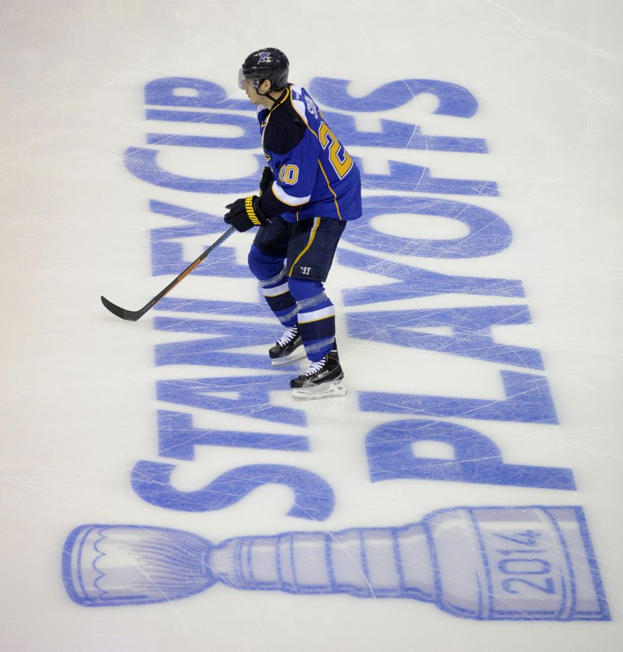 St. Louis Blues' Alexander Steen warms up prior to Game 2 of a first-round NHL hockey Stanley Cup playoff series against the Chicago Blackhawks, Saturday, April 19, 2014, in St. Louis. (AP Photo/Bill Boyce)