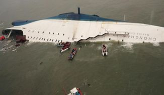 FILE - In this April 16, 2014 file photo,  released by South Korea Coast Guard via Yonhap News Agency, South Korean rescue team boats and fishing boats try to rescue passengers of the sinking Sewol ferry, off South Korea's southern coast,near Jindo, south of Seoul. It is a decision that has maritime experts stumped and is at odds with standard procedure: Why were the passengers of the doomed South Korean ferry told to stay in their rooms rather than climb on deck?  Evacuations can be chaotic and dangerous, and an important principle in maritime circles is that even a damaged ship may be the best lifeboat. But car ferries like the Sewol, which left some 300 people missing or dead when it sank Wednesday, are different. They are particularly susceptible to rapid capsizing which makes it critically important that the crew quickly evacuate passengers when there is trouble. (AP Photo/South Korea Coast Guard via Yonhap, File) KOREA OUT