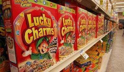 **FILE** A shelf of General Mills Lucky Charms cereal in a Giant Eagle grocery in Pittsburgh on Sept. 21, 2006. (Associated Press)