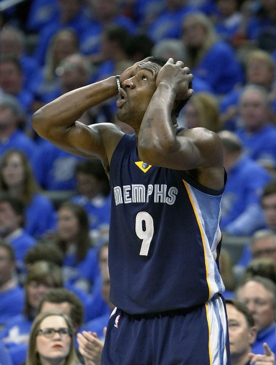 Memphis Grizzlies guard Tony Allen (9) reacts to a call against him in the third quarter of play against the Oklahoma City Thunder in Game 1 of the opening-round NBA basketball playoff series in Oklahoma City on Saturday, April 19, 2014. Oklahoma City won 100-86. (AP Photo/Alonzo Adams)