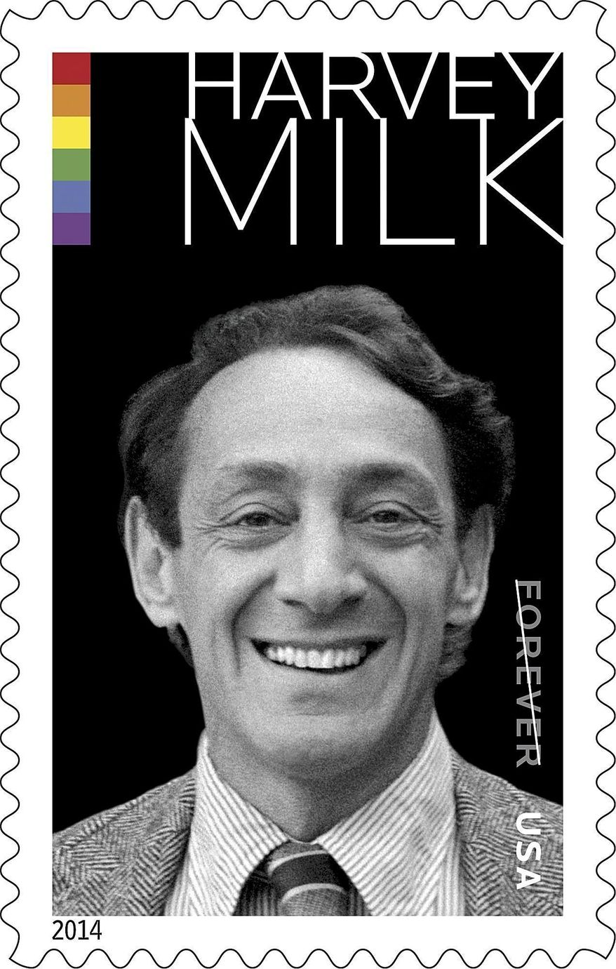 This undated image released by the United States Postal Service shows the Harvey Milk Forever Stamp. The U.S. Postal Service will feature Milk, the California politician and gay rights icon, on its commemorative stamp. The image is based on a photograph taken around 1977 as Milk stood outside his Castro Street Camera Store in San Francisco. (AP Photo/U.S. Postal Service)