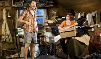 "This image released by Seven17 Public Relations shows Nick Offerman, left, and Megan Mullally in a scene from ""Annapurna"" performing off-Broadway at The New Group in New York.  (AP Photo/Seven17 PR, Monique Carboni)"