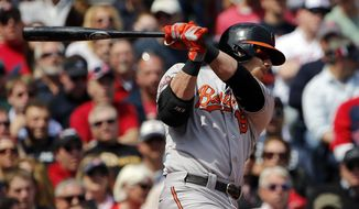 Baltimore Orioles' Chris Davis follows through on a RBI single against the Boston Red Sox during the third inning of their 7-6 win in a baseball game at Fenway Park in Boston Monday, April 21, 2014. (AP Photo/Winslow Townson)