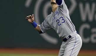 Kansas City Royals right fielder Norichika Aoki, from Japan, catches a fly ball by Cleveland Indians' Jason Kipnis to end the seventh inning of a baseball game Monday, April 21, 2014, in Cleveland. The Indians won 4-3. (AP Photo/Mark Duncan)