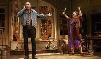 """This image released by Polk & Co., shows Estelle Parsons, right, and Stephen Spinella during a performance of """"The Velocity of Autumn,"""" at the Booth Theatre in New York. (AP Photo/Polk & Co., Joan Marcus)"""
