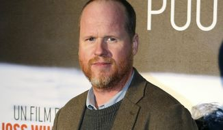 "This Jan. 21, 2014, file photo shows American film producer and director Joss Whedon at the screening of ""Much Ado About Nothing"" in Paris. Mr. Whedon has been brought on by Warner Bros. to finish ""Justice League"" after grief-stricken director Zack Snyder asked to be excused from the project. (AP Photo/Remy de la Mauviniere, File) **FILE**"