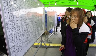 A relative of a passenger aboard the sunken ferry Sewol watches the official list of the dead victims at a port in Jindo, South Korea, Monday, April 21, 2014. Divers continued the grim work of recovering bodies from inside the sunken South Korean ferry  in the water off the southern coast Monday, as a newly released transcript showed the ship was crippled by confusion and indecision well after it began listing. The transcript suggests that the chaos may have added to a death toll that could eventually exceed 300. (AP Photo/Ahn Young-joon)
