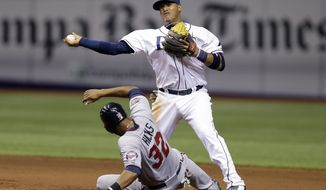 Tampa Bay Rays shortstop Yunel Escobar (11) forces Minnesota Twins' Aaron Hicks (32) at second base on a fielder's choice by Twins' Pedro Florimon during eighth inning of a baseball game Tuesday, April 22, 2014, in St. Petersburg, Fla. (AP Photo/Chris O'Meara)