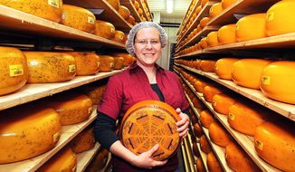 ADVANCE FOR USE  SATURDAY, APRIL 26 - In this photo taken on Thursday, April 17, 2104, standing in an aging room that contains about 4,000 18-pound wheels of cheese, company general manager Kim Rabuck holds a wheel of Marieke Gouda, the award-winning signature product of Holland's Family Cheese in Thorp, Wis.  The Rolf and Marieke Penterman family, natives of the Netherlands, recently opened a new facility that incorporates dairy farming, cheesemaking and retail sales. The entire operation is designed to be viewed by visitors.  (AP Photo/Eau Claire Leader-Telegram, Steve Kinderman)