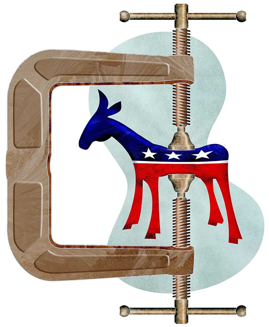 Democrat Squeeze Illustration by Greg Groesch/The Washington Times