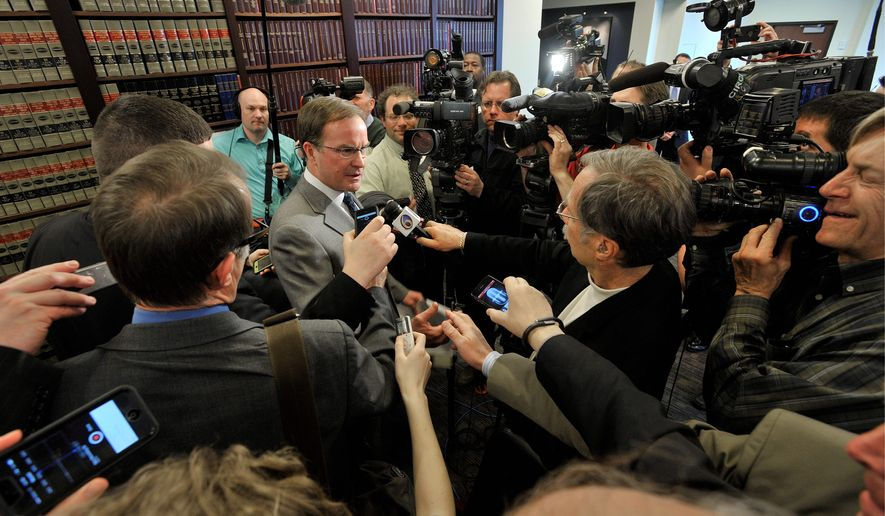 "Michigan Attorney General Bill Schuette speaking about the Supreme Court's decision regarding the state's Affirmative Action law on university enrollment said that ""the ruling is a victory for the Constitution, a victory for Michigan citizens, and a victory for the rule of law."" (Associated Press)"