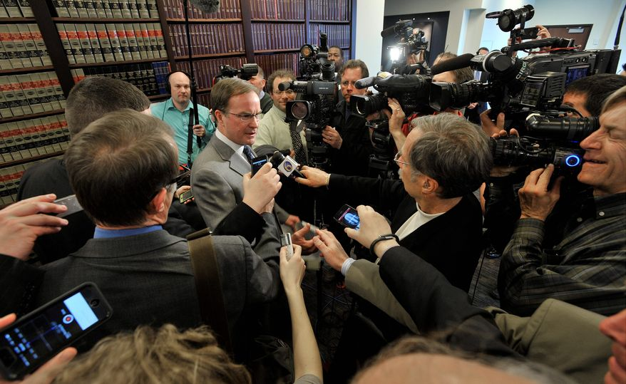 """Michigan Attorney General Bill Schuette speaking about the Supreme Court's decision regarding the state's Affirmative Action law on university enrollment said that """"the ruling is a victory for the Constitution, a victory for Michigan citizens, and a victory for the rule of law."""" (Associated Press)"""