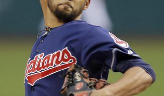 Cleveland Indians starting pitcher Danny Salazar delivers against the Kansas City Royals in the first inning of a baseball game Tuesday, April 22, 2014, in Cleveland. (AP Photo/Mark Duncan)