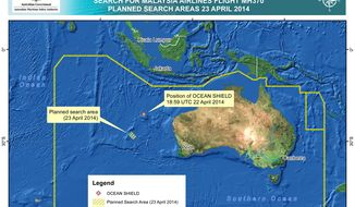 In this map provided on Wednesday, April 23, 2014, by the Joint Agency Coordination Centre, details are presented in the search for the missing Malaysia Airlines Flight 370 in the southern Indian Ocean. The hunt for the missing Malaysia Airlines jet will likely soon deploy more powerful sonar equipment that can delve deeper as the current search of the most likely crash site in the Indian Ocean has failed to yield any clues, Australia's defense minister said Wednesday. (AP Photo/Joint Agency Coordination Centre) EDITORIAL USE ONLY