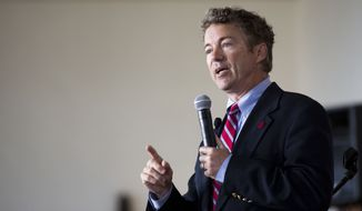 Sen. Rand Paul, R-Ky., speaks during an event at the University of Chicago's Ida Noyes Hall in Chicago on Tuesday, April 22, 2014. (AP Photo/Andrew A. Nelles)