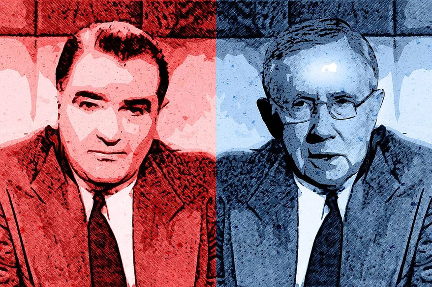 Joe McCarthy and Harry Reid Illustration by Greg Groesch/The Washington Times