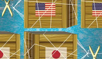 Illustration on improving U.S.-Asia trade by Alexander Hunter/The Washington Times