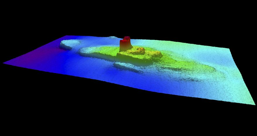 This 2013 image provided by the National Oceanic and Atmospheric Administration (NOAA) shows a multi-beam sonar profile view of the shipwreck of the iron and wood steamship City of Chester. In 1888 on a trip from the San Francisco bay to Eureka, the Chester was split in two by a ship more than twice its size, killing 16 people and becoming the bay's second-worst maritime disaster. Now, more than a century later, a National Oceanic and Atmospheric Administration team has found the shipwreck. The team came upon the wreckage in 217 feet of water just inside the Golden Gate while it was charting shipping channels. (AP Photo/National Oceanic and Atmospheric Administration)