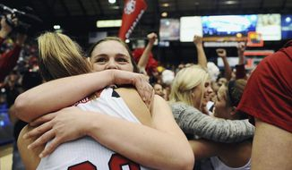 FILE - In this March 11, 2014 file photo, South Dakota's Bridget Arens, right, and Margaret McCloud celebrate their 82-71 win over Denver at their NCAA women's basketball championship game at the Summit League Conference tournament in Sioux Falls, S.D. A report from the Sioux Falls Convention and Visitors Bureau and the Sioux Falls Sports Authority says the Sioux Falls economy received an $8.5 million boost from the recent Summit League men's and women's basketball tournaments. The figures take into account taxes, lodging, transportation, food, entertainment, shopping, organizer spending and media coverage. (AP Photo/Argus Leader, Joe Ahlquist, File)  NO SALES