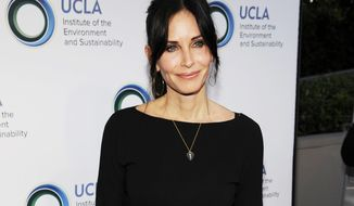 "FILE - This March 21, 2014 file photo shows actress Courteney Cox at the UCLA Institute of the Environment and Sustainability's An Evening of Environmental Excellence in Beverly Hills, Calif. Cox will premiere her directorial debut ""Just Before I Go"" at the Tribeca Film Festival on Thursday, April 24. (Photo by Chris Pizzello/Invision/AP, File)"