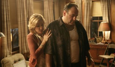 "FILE - In this file photo, originally released by HBO in 2007, Edie Falco portrays Carmela Soprano and James Gandolfini is Tony Soprano in a scene from one of the last episodes of the hit HBO dramatic series ""The Sopranos."" Amazon is teaming up with HBO, the first such streaming arrangement agreed to by the cable network, in a deal that will make available to Amazon Prime members some classic TV like ""The Sopranos"" and ""The Wire."" (AP Photo/HBO, Craig Blankenhorn, File)"