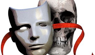 Skull and Mask Illustration by Greg Groesch/The Washington Times