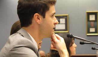 Rep. Stephen Ortego, D-Carencro, speaks to the House Agriculture Committee on Thursday, April 24, 2014, in Baton Rouge, La. Ortego was pushing a bill to allow Louisiana farms to sell raw milk to consumers. (AP Photo/Melinda Deslatte)