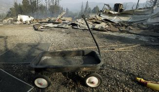 FILE - In this June 2, 2013 file photo, a charred Radio Flyer wagon seen in the ruins of a home, one of at least five structures destroyed or severely damaged, in what has been called the Powerhouse fire in Lake Hughes, Calif. Victims of the wildfire are suing Los Angeles Department of Water and Power, claiming the utility started the massive blaze and failed to properly maintain power lines and equipment. (AP Photo/Reed Saxon, File)