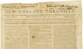 This undated photo provided by Bonhams shows The New-England Chronicle's  page-one publishing of the Declaration of Independence two weeks after it was signed, from  the archive of Eric Caren, who has amassed what is considered one of the largest private collections of historical papers in the United States. The Boston newspaper, which could fetch as much as $80,000, is one of 300 items from the Westchester-based Caren Archive being auctioned in April at the Manhattan location of Bonhams. The items for sale range from Revolutionary War documents describing the battles of Lexington and Concord to a mug shot of Western outlaw Butch Cassidy. (AP Photo/Bonhams)