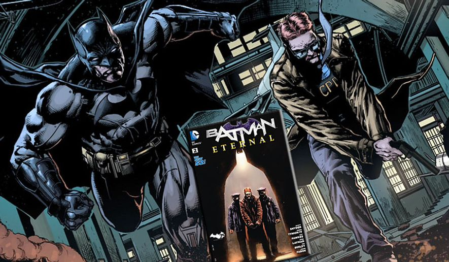 The Dark Knight helps Commissioner Gordon get out of a jam in the new weekly series Batman Eternal (Courtesy DC Comics)