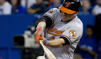 Baltimore Orioles' Chris Davis hits a two-run single against the Toronto Blue Jays during the seventh inning of a baseball game in Toronto on Thursday, April 24, 2014. (AP Photo/The Canadian Press, Nathan Denette)
