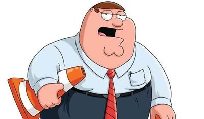 """This image released by 20th Century Fox Television shows a cartoon image from the """"Family Guy"""" series that was used in a mailer lobbying for best animated program with Emmy voters. The image shows series regular Peter Griffin dressed like New Jersey Gov. Chris Christie and spoofs Christie's traffic scandal from last year when a Christie aide made reference to causing traffic problems as political retribution in Fort Lee, N.J. Christie denies any involvement in shutting down lanes near the George Washington Bridge, frustrating commuters. (AP Photo/20th Century Fox Television)"""
