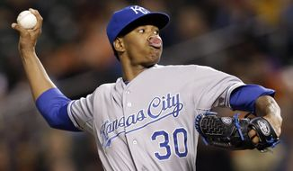 Kansas City Royals starting pitcher Yordano Ventura throws to the Baltimore Orioles in the first inning of a baseball game, Friday, April 25, 2014, in Baltimore. (AP Photo/Patrick Semansky)