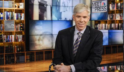 "This Feb. 24, 2013 photo released by NBC News shows moderator David Gregory on the set of ""Meet the Press,"" in Washington. NBC News President Deborah Turness said in a memo to the Sunday morning public affairs program staff members that she supports Gregory ""now and into the future."" Once the dominant Sunday morning program, ""Meet the Press"" has sunk behind competing shows by CBS and ABC in the ratings.  (AP Photo/NBC, William B.  Plowman)"