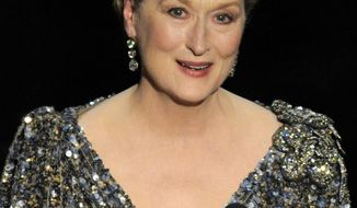 """FILE - In this Feb. 24, 2013, file photo, Meryl Streep appears at the Oscars at the Dolby Theatre  in Los Angeles. Empty seats were rare Thursday night, April 24, 2014, at Lincoln Center's Alice Tully Hall, in New York, for """"Poetry & the Creative Mind,"""" an all-star celebration presented by the Academy of American Poets. Streep recited works on parenting by Sylvia Plath and Richard Wilbur, while Tina Fey was at her comic best reading James Tate's """"The List of Famous Hats,"""" and Patrick Stewart chose Carl Sandburg's """"Jaws"""" and a personal favorite, Edna St. Vincent Millay's """"God's World."""" (Photo by Chris Pizzello/Invision/AP, File)"""