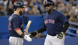 Boston Red Sox's David Ortiz celebrates his solo home run with teammate Mike Napoli during the third inning of a baseball game against the Toronto Blue Jays in Toronto on Friday, April 25, 2014. (AP Photo/The Canadian Press, Frank Gunn)