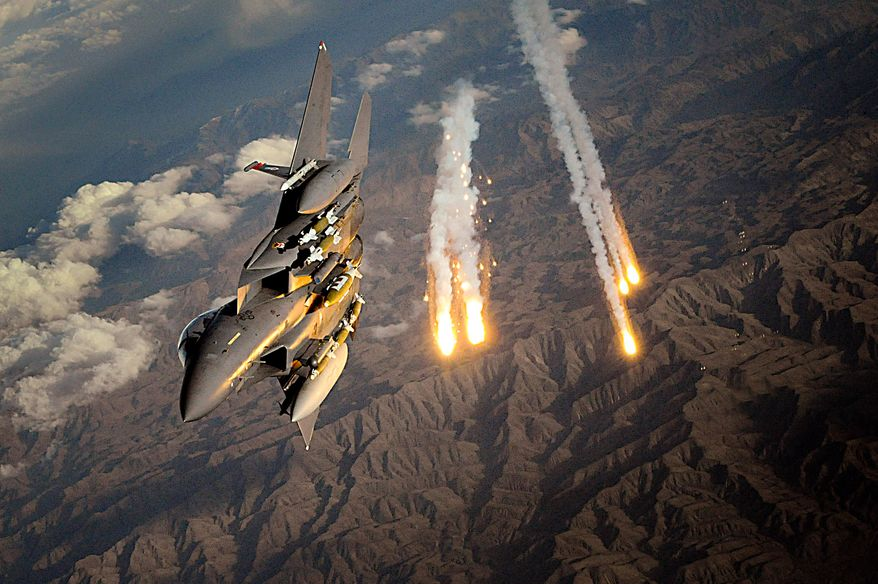 3. F-15 STRIKE EAGLE The McDonnell Douglas (now Boeing) F-15E Strike Eagle is an American all-weather multirole fighter, derived from the McDonnell Douglas F-15 Eagle. The F-15E was designed in the 1980s for long-range, high speed interdiction without relying on escort or electronic warfare aircraft. United States Air Force (USAF) F-15E Strike Eagles can be distinguished from other U.S. Eagle variants by darker camouflage and conformal fuel tanks mounted along the engine intakes. The Strike Eagle has been deployed for military operations in Iraq, Afghanistan, and Libya. During these operations the F-15E has carried out deep strikes against high-value targets, combat air patrols, and providing close air support for coalition troops. It has also seen action in later conflicts and has been exported to several countries. An F-15E Strike Eagle deploys countermeasure flares Nov. 12 over Afghanistan. The aircraft is assigned to the 391st Expeditionary Fighter Squadron at Bagram Airfield, Afghanistan. (U.S. Air Force photo/Staff Sgt. Aaron Allmon)