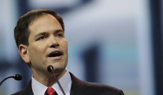 Sen. Marco Rubio, R-Fla., speaks during the leadership forum at the National Rifle Association's annual convention in Friday, April 25, 2014, in Indianapolis. Several potential Republican contenders for president planned on courting gun-rights supporters at the convention Friday. (AP Photo/AJ Mast)