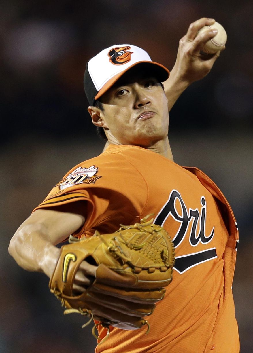 Baltimore Orioles starting pitcher Wei-Yin Chen, of Taiwan, throws to the Kansas City Royals in the fourth inning of a baseball game, Saturday, April 26, 2014, in Baltimore. (AP Photo/Patrick Semansky)