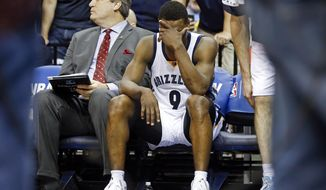 Memphis Grizzlies guard Tony Allen (9) sits on the bench during overtime in Game 4 of an opening-round NBA basketball playoff series against the Oklahoma City Thunder Saturday, April 26, 2014, in Memphis, Tenn. Oklahoma City won 92-89. (AP Photo/Mark Humphrey)
