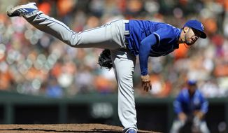 Kansas City Royals starting pitcher James Shields throws to the Baltimore Orioles in the fourth inning of a baseball game on Sunday, April 27, 2014, in Baltimore. (AP Photo/Patrick Semansky)