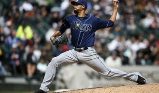 Tampa Bay Rays starting pitcher David Price throws against the Chicago White Sox during the sixth inning of a baseball game on Sunday, April 27, 2014, in Chicago. (AP Photo/Andrew A. Nelles)