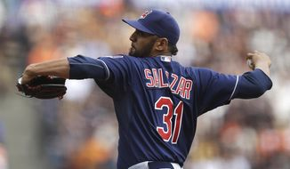Cleveland Indians' Danny Salazar works against the San Francisco Giants in the first inning of a baseball game, Sunday, April 27, 2014, in San Francisco. (AP Photo/Ben Margot)