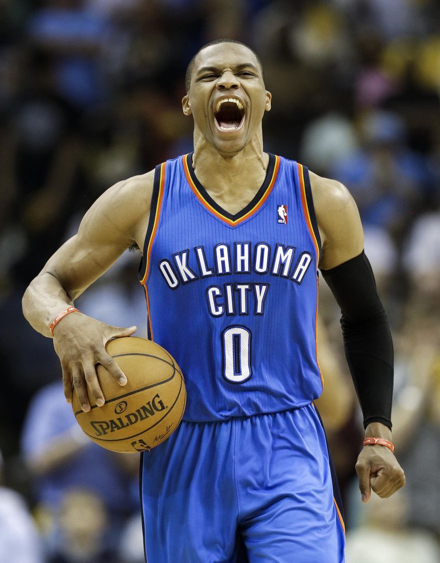 Oklahoma City Thunder guard Russell Westbrook yells as time runs out in overtime in Game 4 of an opening-round NBA basketball playoff series against the Memphis Grizzlies Saturday, April 26, 2014, in Memphis, Tenn. Oklahoma City won 92-89. (AP Photo/Mark Humphrey)