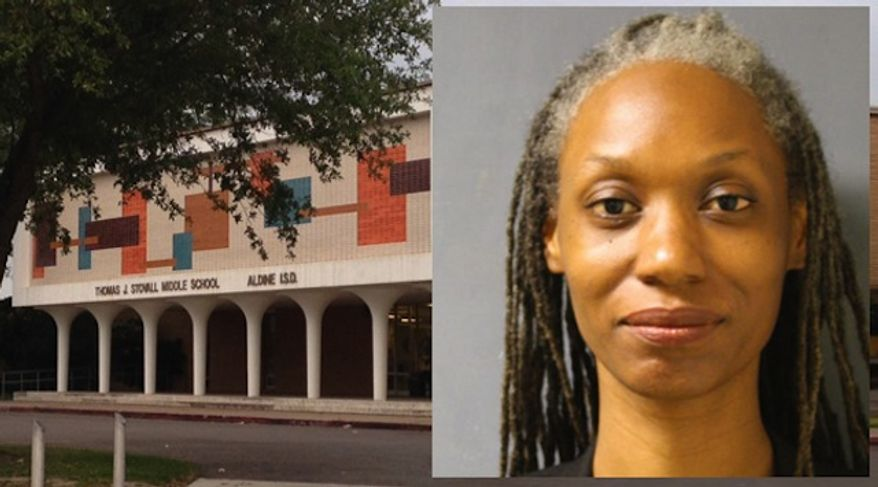Felicia Smith, 42, a teacher at Stovall Middle School, was removed from campus after she admitted to giving a male student a lap dance for his birthday on Feb. 26. (Harris County Sheriff's Office via KHOU)
