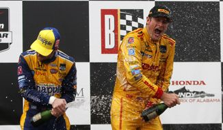 Ryan Hunter-Reay, right, and Marco Andretti celebrate after Hunter-Reay won the Indy Grand Prix of Alabama auto race on Sunday, April 27, 2014, in Birmingham, Ala. (AP Photo/Butch Dill)