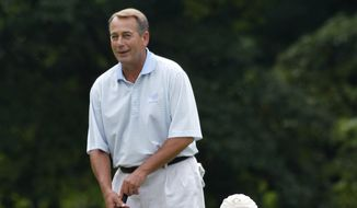 President Barack Obama and House Speaker John Boehner, R-Ohio, are on the first green as they play golf at Andrews Air Force Base, Md.,  Saturday, June 18, 2011. (AP Photo/Charles Dharapak)