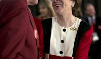 Sen. Susan Collins, R-Maine, greets Michael Timmons of Cumberland, Maine, after speaking at the Maine Republican Convention, Saturday, April 26, 2014, in Bangor, Maine. (AP Photo/Robert F. Bukaty)